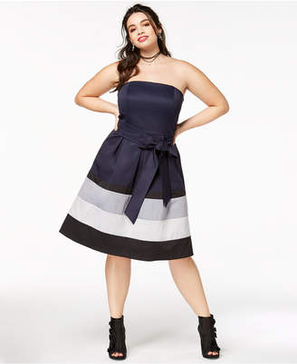 City Chic Trendy Plus Size Strapless Colorblocked Dress