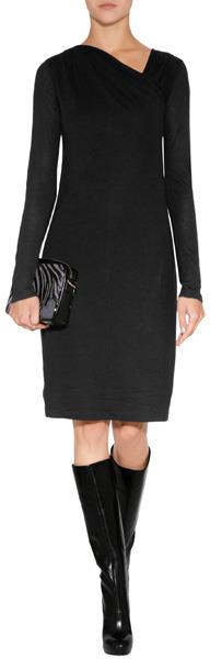 DKNY Draped Dress in Black