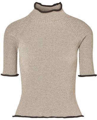 Golden Goose Alya Metallic Ribbed-knit Turtleneck Top