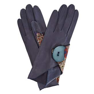Gizelle Renee - Padma Navy Leather Gloves With BM Liberty Tana Lawn
