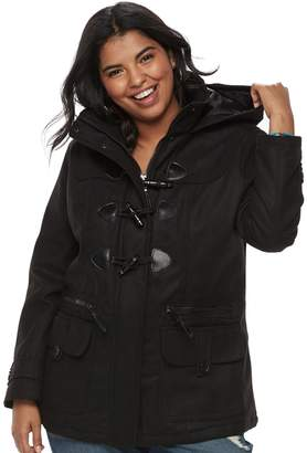 Urban Republic Juniors' Plus Size Hooded Duffle Toggle Coat