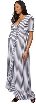 Maternity Empire Rayon Dress - Blue / White Stripe,