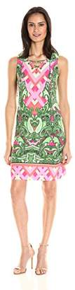 MSK Women's Sleeveless Placed Print Lace up Shift Dress $32.17 thestylecure.com