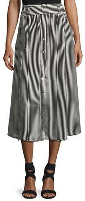 A.L.C. Divya Belted Striped Silk Midi Skirt, Black/White $395 thestylecure.com