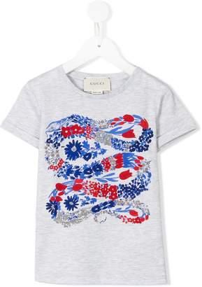 Gucci Kids snake floral print T-shirt