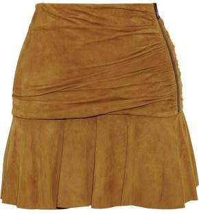 Veronica Beard Weston Gathered Suede Mini Skirt