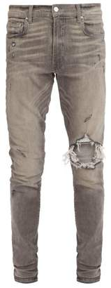 Amiri Broken Skinny Fit Jeans - Mens - Grey