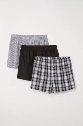 H&M 3-pack Woven Boxer Shorts - Black