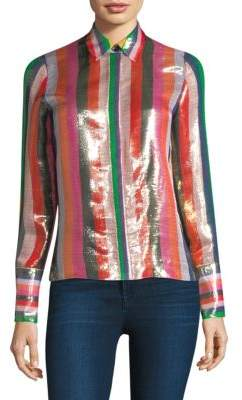 Alice + Olivia Willa Striped Metallic Shirt