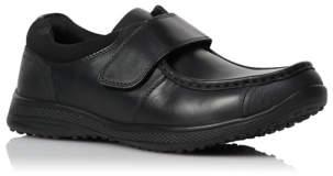George Boys Black Leather Strap School Shoes