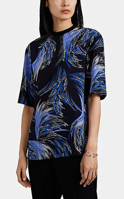 Givenchy Women's Oversized Wave-Print Silk T-Shirt - Black