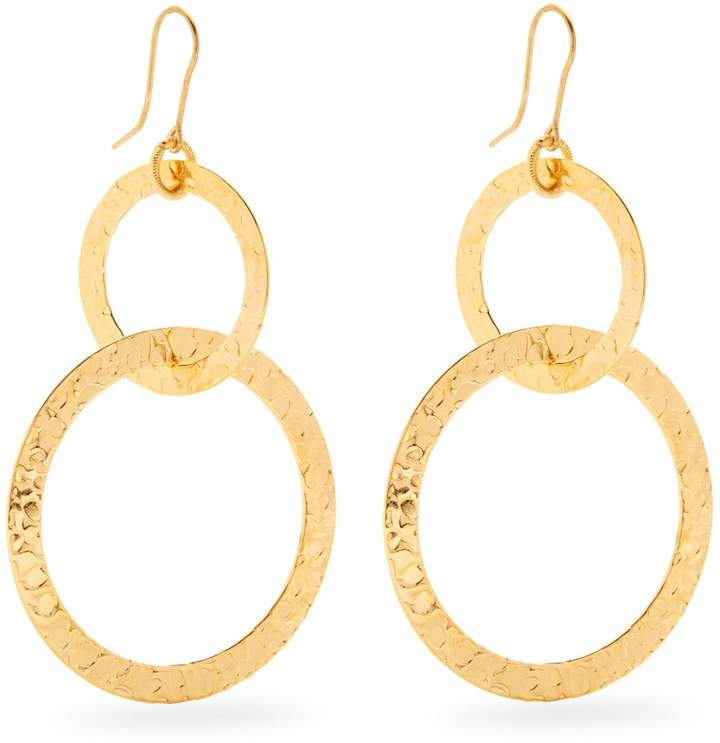SYLVIA TOLEDANO Textured gold-plated hoop drop earrings