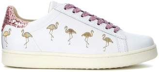 Flamingos Moa Flamingo White Leather Sneaker With And Pink Sequins