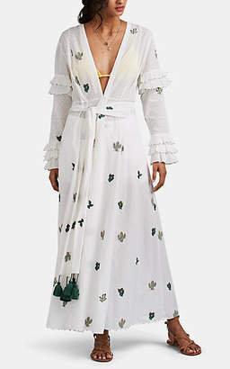 Leone WE ARE Women's Cactus-Embroidered Cotton Maxi Cardigan - White