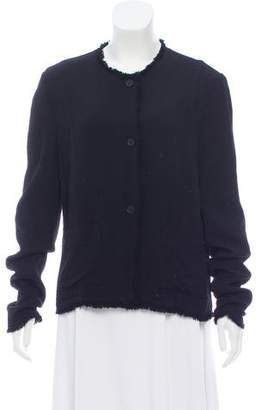 Raquel Allegra Fringe-Trimmed Long Sleeve Jacket