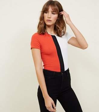 New Look Bright Orange Colour Block Ribbed T-Shirt
