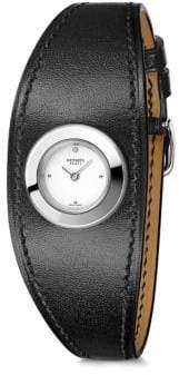 Hermes Faubourg Manchette Diamond, Stainless Steel& Leather Strap Watch
