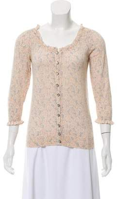 Marc by Marc Jacobs Ruffle-Trimmed Floral Cardigan