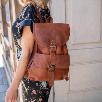 f6f35c3ea9e17a MAHI Leather Personalised Leather Explorer Backpack/Rucksack