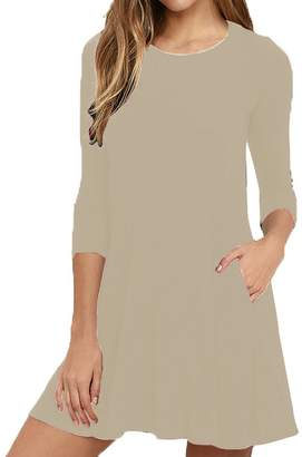 Hunter Bestisun Women's Classic 3/4 Sleeve Shirt Tank Top for Women High Collar Spring Dress Juniors Holiday Dresses Tunic Tshirt with Pockets Apricot