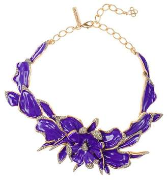 Oscar de la Renta Enamel Orchid Necklace