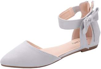 Jocelyn Mila Lady Fashion New Ankle Strap with Bow Pointy Toe Woman s Fashion Flats