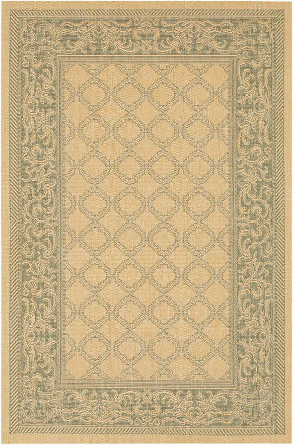 "Couristan Couristan Runner Rug, Indoor/Outdoor Recife 1016/5016 Garden Lattice Natural-Green 2'3"" x 11'9"""
