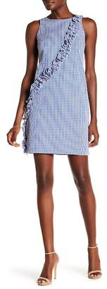 London Times Gingham Asymmetrical Ruffle Dress