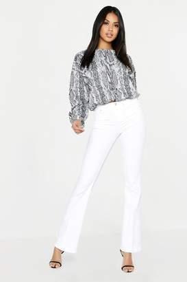 boohoo Mid Rise Skinny Flare Jeans
