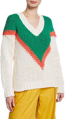 Moon River Chevron Pattern V-Neck Crochet Sweater