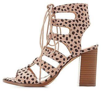 Leopard Caged Lace-Up Sandals $35.99 thestylecure.com