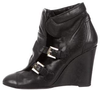 Chanel Leather Wedge Ankle Boots