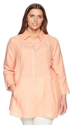 Foxcroft Women's Plus Size Cici Solid Chambray Linen Tunic