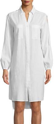 Jones New York Hi-Lo Split Tunic Button-Down Shirt