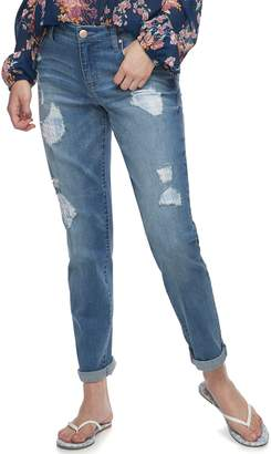 Tinseltown Juniors' Mid-Rise Rip & Repair Roll-Cuff Ankle Skinny Jeans