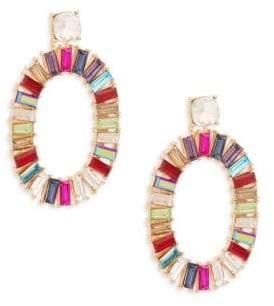 Ava & Aiden Goldtone Multi-Color Gemstone Oval Hoop Drop Earrings