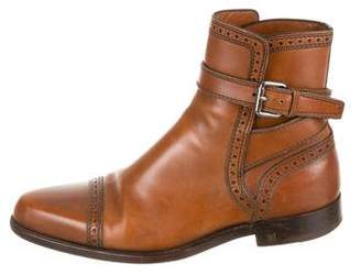 Louis Vuitton Leather Brogue-Trimmed Boots