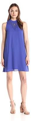 Everly Women's Lace Trim Mock Neck Swing Dress $25.68 thestylecure.com