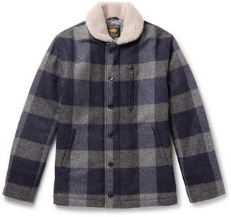 GoldenBear Golden Bear The Cooper Shearling-Trimmed Checked Wool Jacket