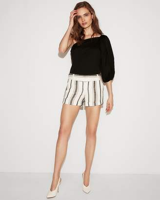 Express Low Rise Striped Linen-Blend Shorts