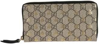 Gucci Double G & Signature Bee Motif Zip-around Wallet