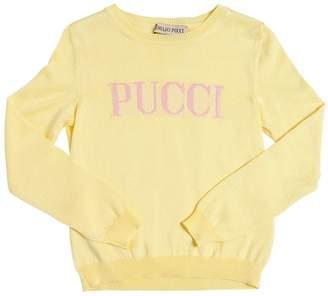 Emilio Pucci Logo Intarsia Cotton Blend Knit Sweater