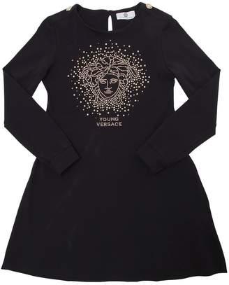 Versace Medusa Studded Cotton Jersey Dress
