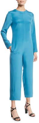 Tibi Open-Back Silk Long-Sleeve Jumpsuit with Fringe Tie