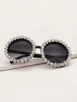 Shein Rhinestone Engraved Round Frame Sunglasses