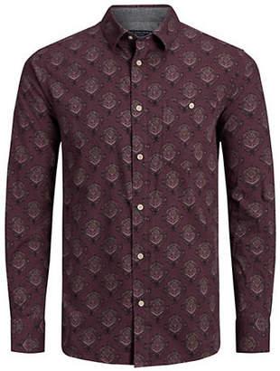 Jack and Jones Geometric-Print Button-Down Shirt