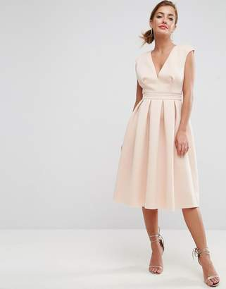 Asos DESIGN Scuba Deep Plunge Prom Midi Dress