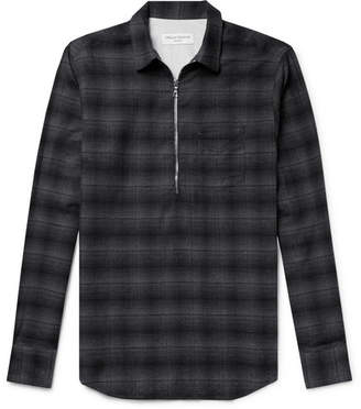 Officine Generale Cotton-Flannel Half-Placket Shirt
