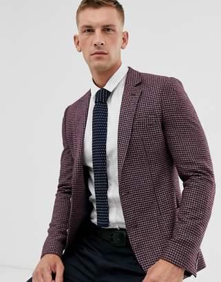 Asos Design DESIGN super skinny blazer with brushed PV micro check in burgundy