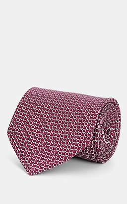 Salvatore Ferragamo Men's Gancio-Print Silk Necktie - Red